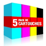 Pack 5 cartouches équivalent Brother LC1100 - LC980 : noir x 2, cyan, magenta, jaune