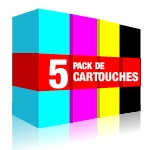 Pack 5 cartouches équivalent Brother LC1240 : noir x 2, cyan, magenta, jaune