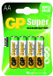 Piles AA LR06 ALCALINE GP Batteries super par 4