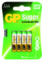 Piles AAA LR03 ALCALINE GP Batteries super par 4
